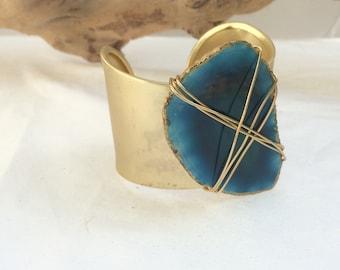 Gold Fashion Agate Slice Cuff