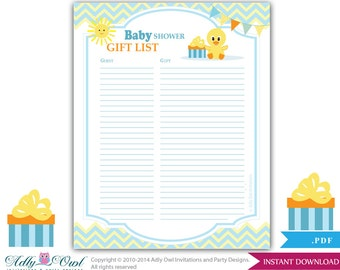 Bridal Shower Gift Record Template : Boy Duck Guest Gift List , Guest Si gn in Sheet Card for Baby shower ...