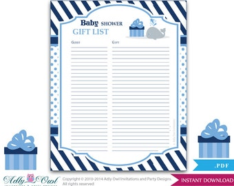 boy whale guest gift list guest sign in sheet card for baby shower