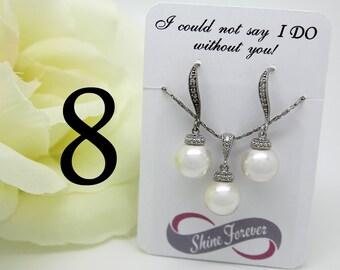 Set of 8 Bridesmaid Gift Jewelry Bridal Pearl Jewelry Set Swarovski Crystal Cubic Zirconia Drop Earrings Bridesmaid Jewelry Set Pearls