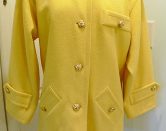 1980s Vintage Yves Saint Laurent Variation Coat , Wool Military Style Yellow Coat