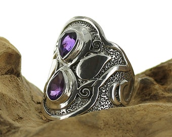 Amethyst silver ring. Size 8.25. Natural stone