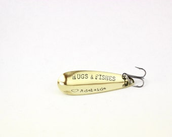 gift for men, fathers day gift, hugs and fishes, personalized fishing lure, gift for dad, gift for grandpa, valentines day gift, mens gift