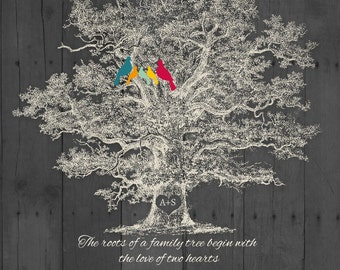 Family Christmas Gift, Personalized Rustic Family Tree Holiday GIFT, Custom Quote Anniversary Gift, 8,5x11 Poster