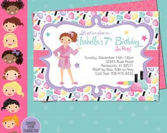 Spa Party Birthday Invitation - Sleepover Makeover Spa Day Invitation - Sparty Glamour Diva - Spa Birthday Party - Girl Birthday - Diva