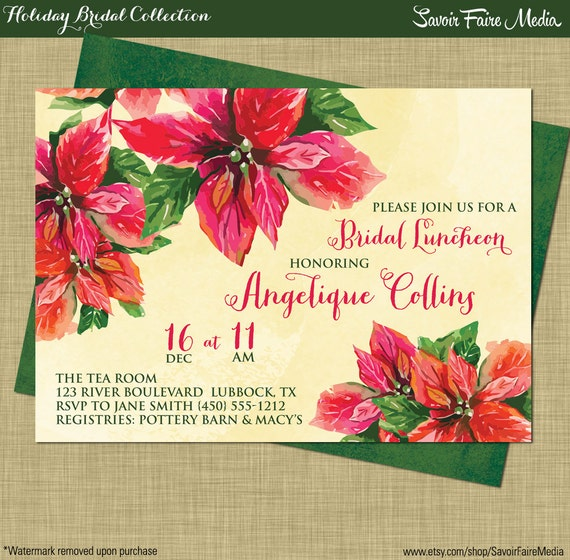 Holiday Bridal Shower Luncheon Invitation // Christmas Brunch
