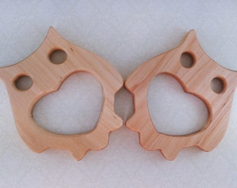 Made of birch -Organic Wooden teether toy - Natural Wooden Toy - Handmade wooden teether Owl