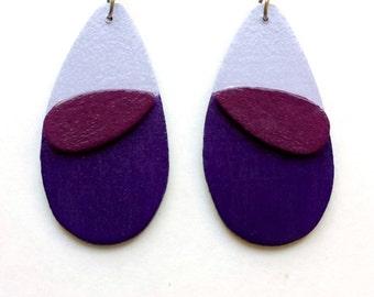 purple dangle earrings - geometric wood earrings - modern earrings - contemporary, minimalist jewelry