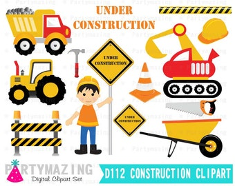 Construction Clipart, Construction Boy,  truck Clip Art Graphic Set, Instant Download -D112