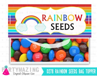 Rainbow Seeds Treat Bag Tags, Rainbow Seeds Printable PDF, Printable Party Favor Bag Topper , Instant download D278