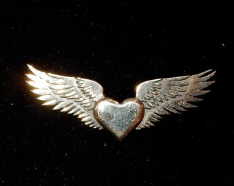 Sufi Heart or Winged Heart Brooch or Pendant in Bronze