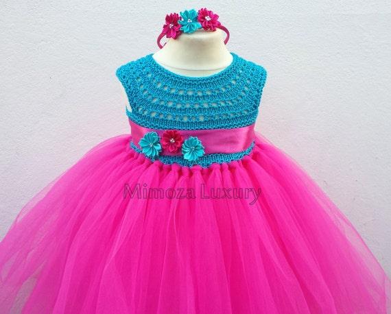 Magenta Blue girl dress, tutu dress, bridesmaid dress, Anna princess dress, crochet top tulle dress wedding