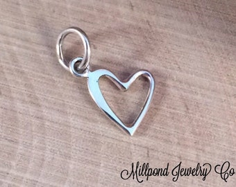 Heart Charm, Heart Pendant, Small Open Heart Charm, Silver Heart Charm, Heart Cut Out Charm, Sterling Silver Charm, PS01325