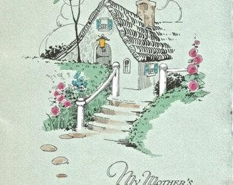 Vintage Art Deco cottage floral mother's birthday card digital download printable image 300 dpi