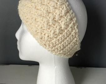 Crochet Headband Earwarmer - White