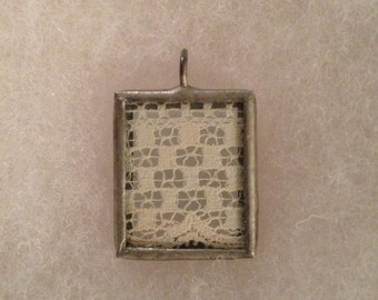 OOAK Handcrafted Vintage Lace and Silver Pendant