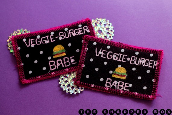 Veggie burger babe handmade polka dot patch