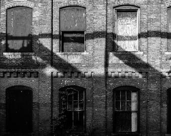 Abandoned Black And White Photography, Small Wall Art, Home Decor, Fine Art Print, Office Decor, Modern Home, Broken Windows, Shadows