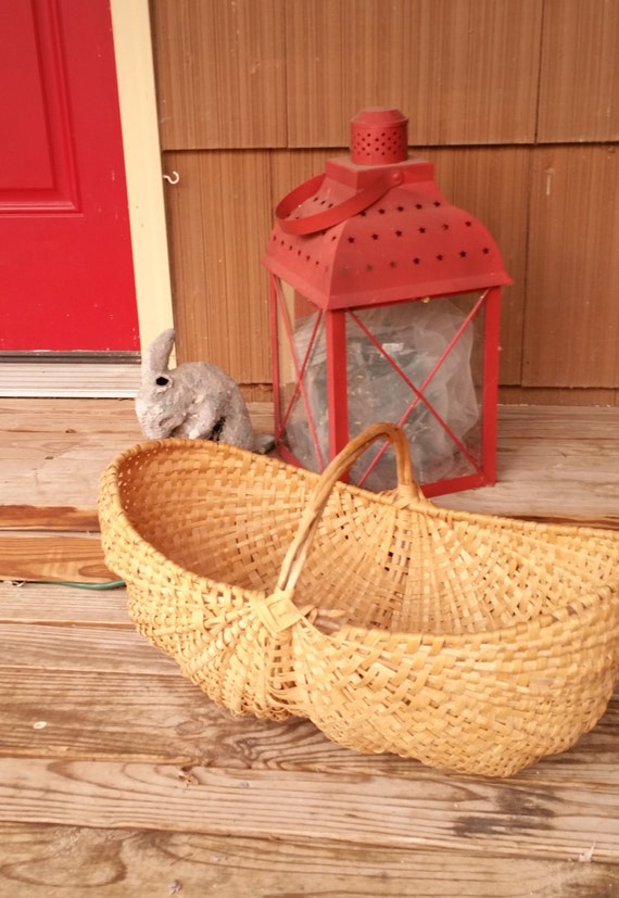 Woven Yarn Basket : Large rustic vintage woven basket yarn country