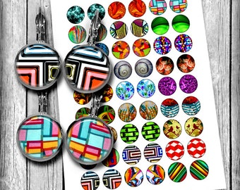 Abstract Art images for Earrings 10mm 12mm 14mm 16mm 18mm Mirror Images Printable Images Digital Collage Sheet - Instant Download