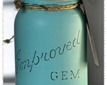 Painted Mason Jar Vintage Blue