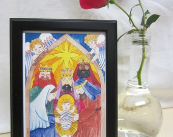 """Print of an original watercolor painting - """"The Nativity"""" 5"""" X 7"""""""
