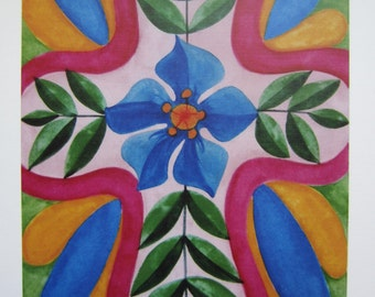 """Colorful Folk Art Cross with Blue Flower - Print of an original watercolor painting 7 1/4"""" x 10 1/2"""""""
