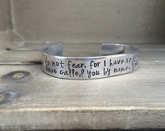 Do Not Fear For I Have Redeemed You Isaiah 43  Bible Verse Scripture Bracelet Hand Stamped Aluminum Brass Copper Cuff Bracelet