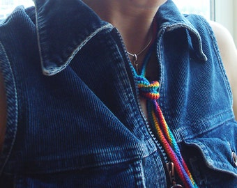 Rainbow cord necklace / Hippie necklace / Eco friendly necklace / Pride jewelry