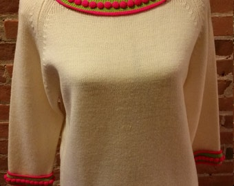 Deadstock 60's Wool Sweater Lime Green and Hot Pink Trim.