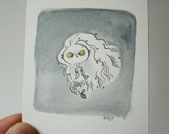 Tiny mermaid - original art in black and white and gold