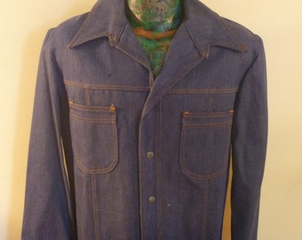 Deadstock Men's 70's Denim Jacket, Size Large, Made by Hendan California!