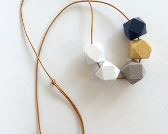 Hand painted necklace. Geometric jewelry. Statement necklace. Holiday jewelry. Jewelry gift for her. Hexagon jewelry. Navy and gold.