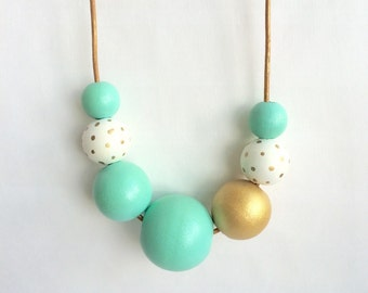 Bubble necklace. Mint and gold. Statement necklace. Handpainted jewelry. Gold polkadots. Jewelry under 50. Gift for her. Bridesmaid jewelry.