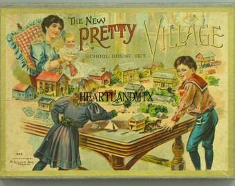 School Set Village Vintage Digital Image Postcard Size