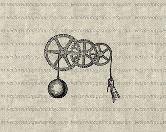 Pulley Gear Vector Graphic Instant Download Clipart, Steampunk Wheels Antique Tool Industrial Mechanical Victorian Illustration WEB1759AH