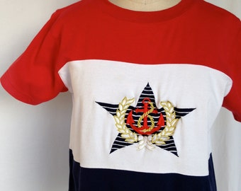 Vintage Red, White & Blue Nautical Anchor T-shirt by Sail Away
