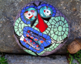 Round Roland - Comically Creepy Zombie Mosaic Art Stone - Stained Glass & Salvaged Lampwork Beads on Stone Substrate - OOAK