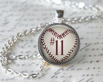 Personalized Baseball Necklace, Baseball Pendant, Heart Baseball Necklace, Mother's Baseball Necklace, Sports Number Necklace