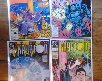 World of Krypton; Vol 2, 1 through 4 Copper Age Comic Books (Limited Series).  NM (9.4). 1987 - 1988.  DC Comics
