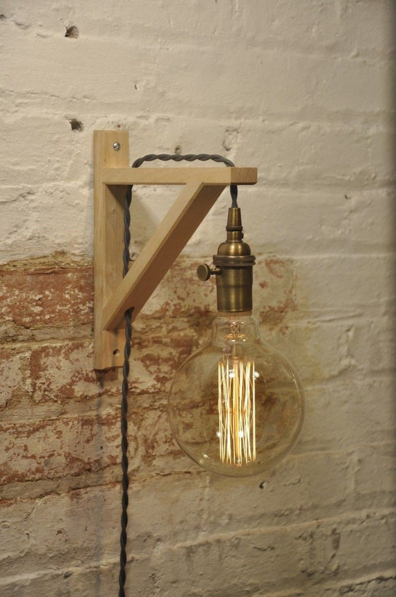 wall sconce antique brass birch wood light lamp industrial. Black Bedroom Furniture Sets. Home Design Ideas