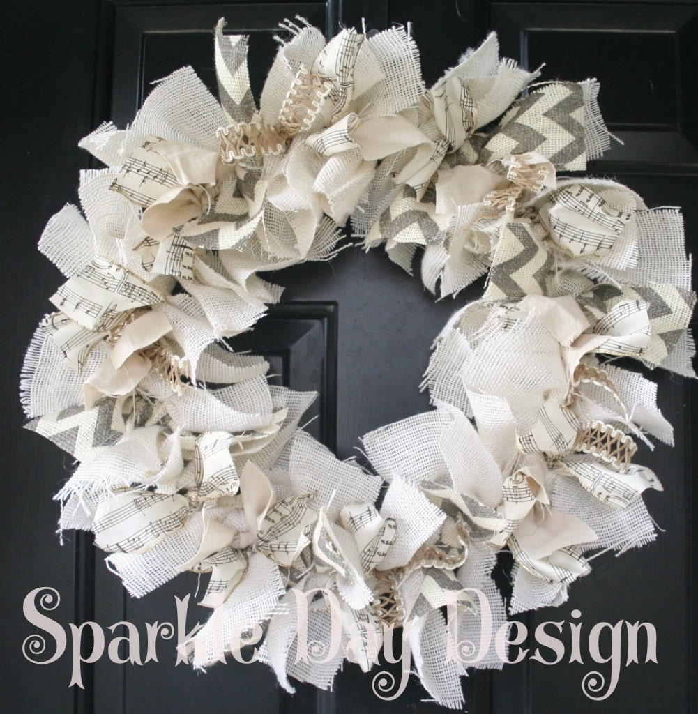 January Wreath Winter Wreath Music Note Winter White Wreath Burlap Year Round Wreath Rustic Wreath Rag Wreath Musician Gift