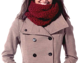Red Chunky Handmade Crochet Scarf - Loosely Stitched Chunky Cowl