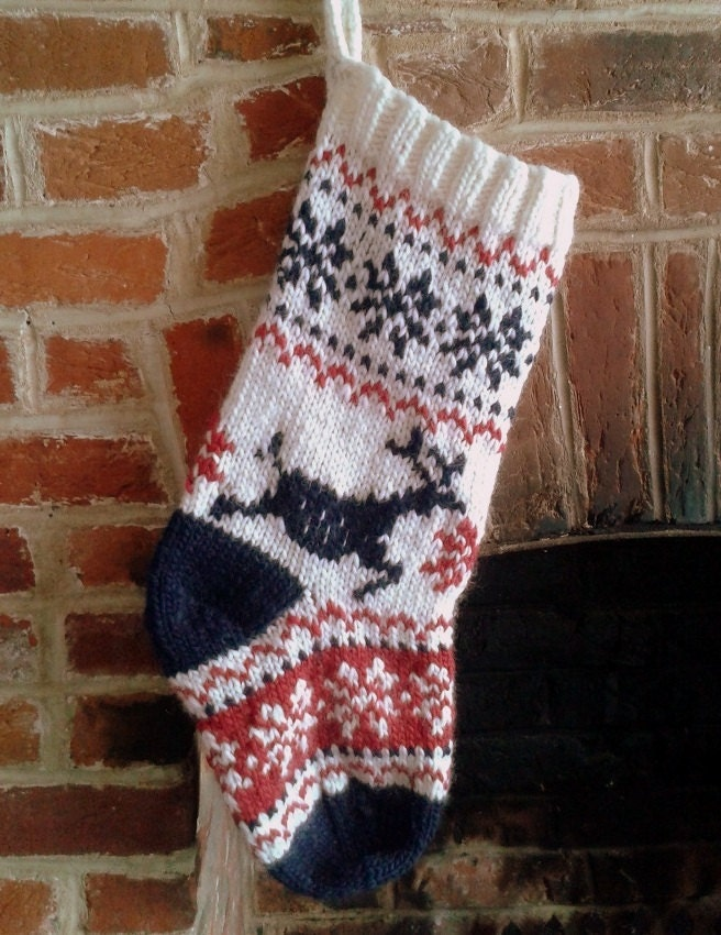 Nordic Scandi Christmas Stocking Knitting Pattern PDF