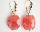 Gypsy / boho style large pink statement earrings with copper stud effect ear wires - salvaged statement beads