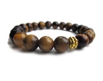 Tigers Eye Bracelet, Mens bracelet, Gifts for men, for him, Mens beaded bracelet, gemstone bracelet, Unisex bracelet, UK seller