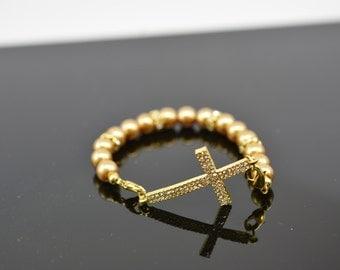Sideways Rhinestone Cross Stackable Bracelet