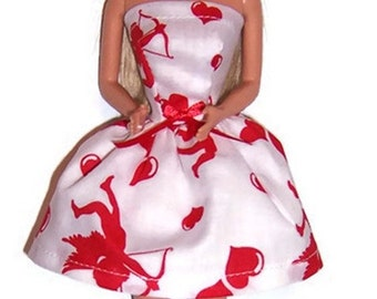 Fashion Doll Clothes-Cupid Print Strapless Party Dress