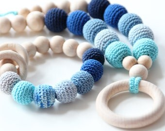 SET of Natural and ECO-friendly Nursing necklace and baby Teething toy