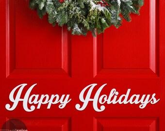 Happy Holidays Season's Greeting Vinyl Wall Decal Sticker